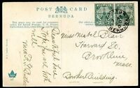 BRITISH BERMUDA TO USA Circulated Postcard 1910 VF