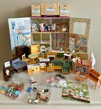 Calico Critters of Cloverdale Play & Carry w/Figures, Furniture, Accessories Lot