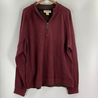 Tommy Bahama Mens Burgundy Quarter Zip Pullover Reversible Sweater Size XL
