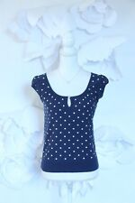 MARC JACOBS Polka Dot Blouse Knit Sweater Top M Lightweight Navy Blue|White