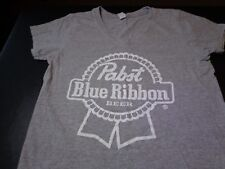 PBR Pabst Blue Ribbon Women's Gray V Neck T-Shirt - Women's Large  P1