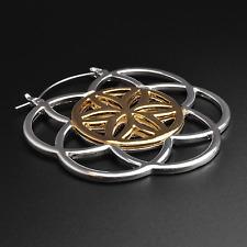 Seed Of Life Plug Hoops Earrings   Silver & Gold   Ear Hangers   Sold As Pair