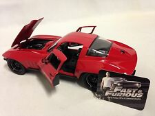 "FAST FURIOUS 8 LETTY'S CHEVY 1966 CORVETTE COLLOECTOR 8"" Diecast 1:24 Jada Red"