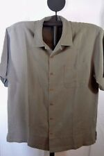 Patron Tequila Collection Casual Shirt SS 100% Silk L Green Coconut Shell Button