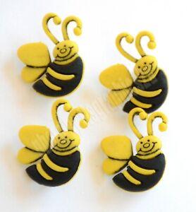 4 Bumble Bee Shank Buttons / Dress It Up ~ Jesse James / Golden Yellow & Black