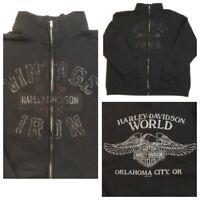 Harley Davidson World Jacket Sweatshirt Zip Up Oklahoma City Motorcycle Biker