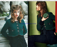 CHANEL11A  NEW $8K 2-in-1 LESAGE CHAIN TRIM JEWELED GREEN TWEED JACKET COAT F36