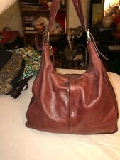 Hobo The Original Burgundy Brown Glazed Distressed Leather Tote Hobo Bag (Q)