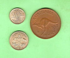 1957 AUSTRALIAN COINS -  SIXPENCE, THREEPENCE & PENNY