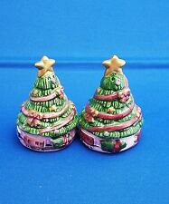 Christmas Tree Salt & Pepper Shakers vintage Green Holidays Decorative  #GS