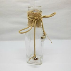 4X Glass Heart Message Bottles Vases Wedding Decorations 15.5cm High