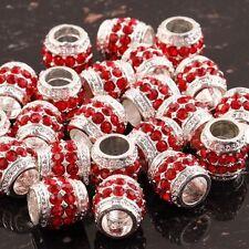 Hot 20X Red Crystal Silver Plated Rhinestone Bulk Beads Charm European Bracelet