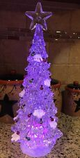 """LED Lighted Tree Color Changing Table Centerpiece Christmas Village 15"""" Snowman"""