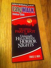 Universal Studios Orlando City Walk October 2008 Brochure Halloween Horror Party