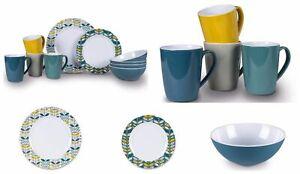 Melamine Dinner Set Plates Bowls Mugs BBQ Camping Picnic Crockery Flora Heritage