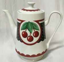 Mary Engelbreit Teapot Rare Tall white red Black with cherries