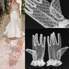 Chic Bridal Wedding Evening Party Banquet Dress Short Lace Finger Gloves White