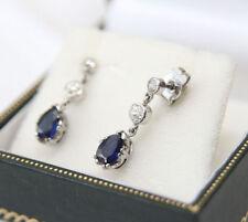 Natural Not Enhanced Sapphire White Gold Fine Earrings