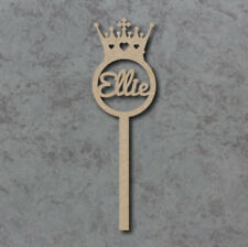 Personalised Princess Crown Wand - Laser cut 4mm mdf craft shapes blank