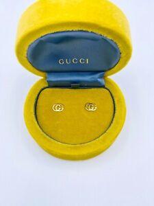 Gucci 18K Yellow Gold GG Double G Earrings