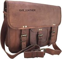 Men's Vintage Leather Messenger Portfolio Business Laptop Briefcase Satchel Bag