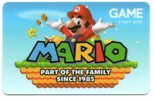 Game Store Nintendo Mario UK Gift Card No $ Value Collectible