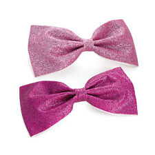 "2 Pack Pink Glitter Hair Bow Girls Clips School Ribbon 4"" Accessory Pair Pack"