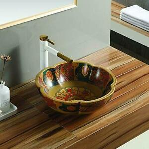 Ceramic Antique Pattern Counter Top Table Top Wash Basin Decor Sink