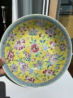 A Antique Large Chinese Famille Rose Plate-Bowl Flowers Motive late 19th C early