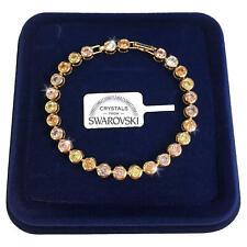 Bracciale Tennis Palline pl. oro giallo 18k Donna,braccialetto cristal SW colori