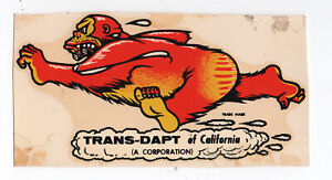 Vtg Water Transfer Decal Hot Rod Drag Race Trans-Dapt California Gorilla