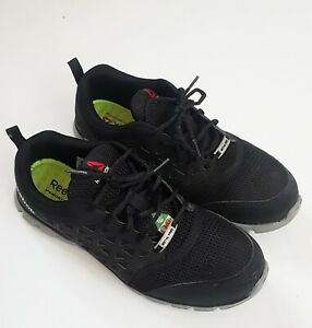 Reebok Sublite Mens  Cushion Alloy Steel Toe Work Black Shoes Sneaker 10.5
