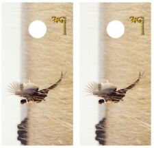 Pheasant in Flight Hunting Cornhole Board Wraps Free Laminate #2962