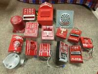 Lot Of 11 Vintage Fire Alarm Pull Stations + 2 wall horns - great!