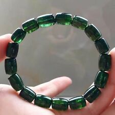 Natural Green Tourmaline Crystal Clear Barrel Beads Bracelet 11x7.5mm AAAAA