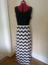 Womens Black/white patterned Maxi Dress, Stretch Top, Sheer skirt, Med, Shang ya