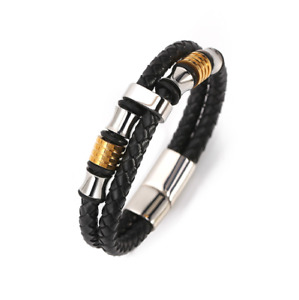 NEW Bracelet Leather Mens Wristband Double Stainless Steel multilayer Black 22cm