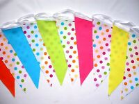 Fabric Bunting Multi Coloured Spot Kids Birthday Party Decor 3m - Smartie Party