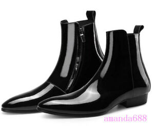 Mens High Top Bright Patent Leather Ankle Boots British Breathable Chelsea Shoes