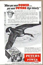 1953 Print Ad Peters Power Shotgun Shells Goose Flying Eagle Lake,Texas