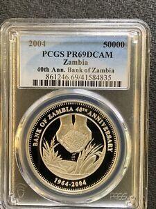 Zambia 2004 50000 Kw / 40th Anniv / Beautiful Silver PCGS PR69DCAM &*No Reserve!