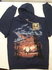 BONE COLLECTOR Mens Size 2XL Dark Blue Cotton/Polyester Hoodie Sweatshirt