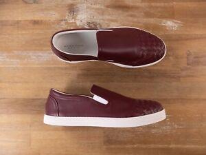 BOTTEGA VENETA dark red intrecciato leather slip on sneakers loafers 10 US / 43