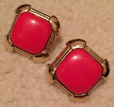 Vtg Red Stone Clip On Earrings Signed Donald Stannard