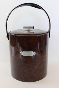 Vintage Georges Briard Tortoise Brown Vinyl Ice Bucket + Lid Mid Century Modern