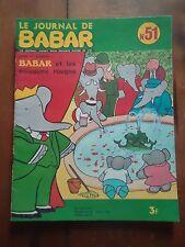 * LE JOURNAL DE BABAR N° 51 * 1973 Laurent de Brunhoff poissons rouges fontaine