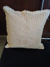 """Crochet cushion cover sixe 16""""x 16"""" color beige hand made"""