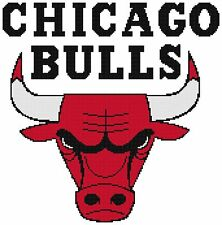 Counted Cross Stitch Pattern, Chicago Bulls Logo - Free US Shipping