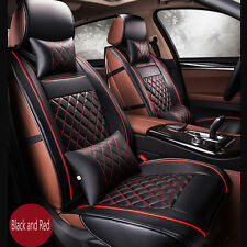 New Luxury PU Leather Seat Cover Set Front Back Car Seat Cover Set Black And Red