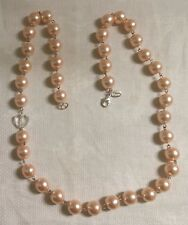 """Guess Silvertone Metal Crystal Heart Pink Faux Pearl Glass Bead 29.5"""" Necklace"""